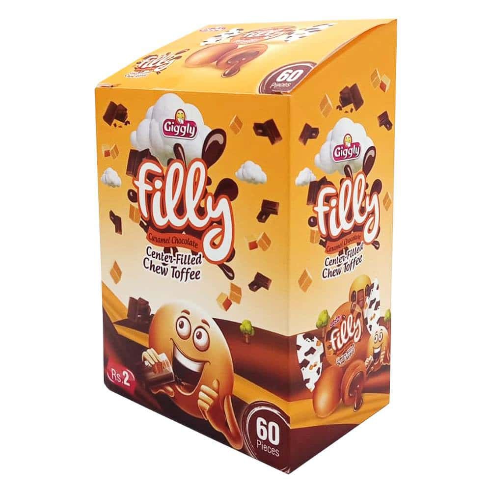 Giggly Filly Caramel Chocolate Flavor Filled Toffee 60 Pieces