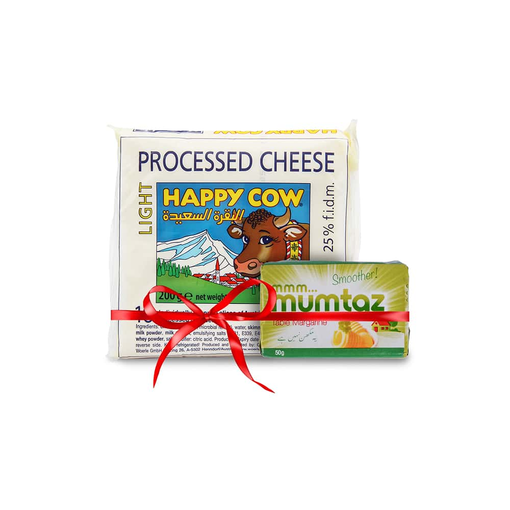 Happy Cow Light Cheese 10 Slices 200gm with Free Mumtaz Margarine 50gm