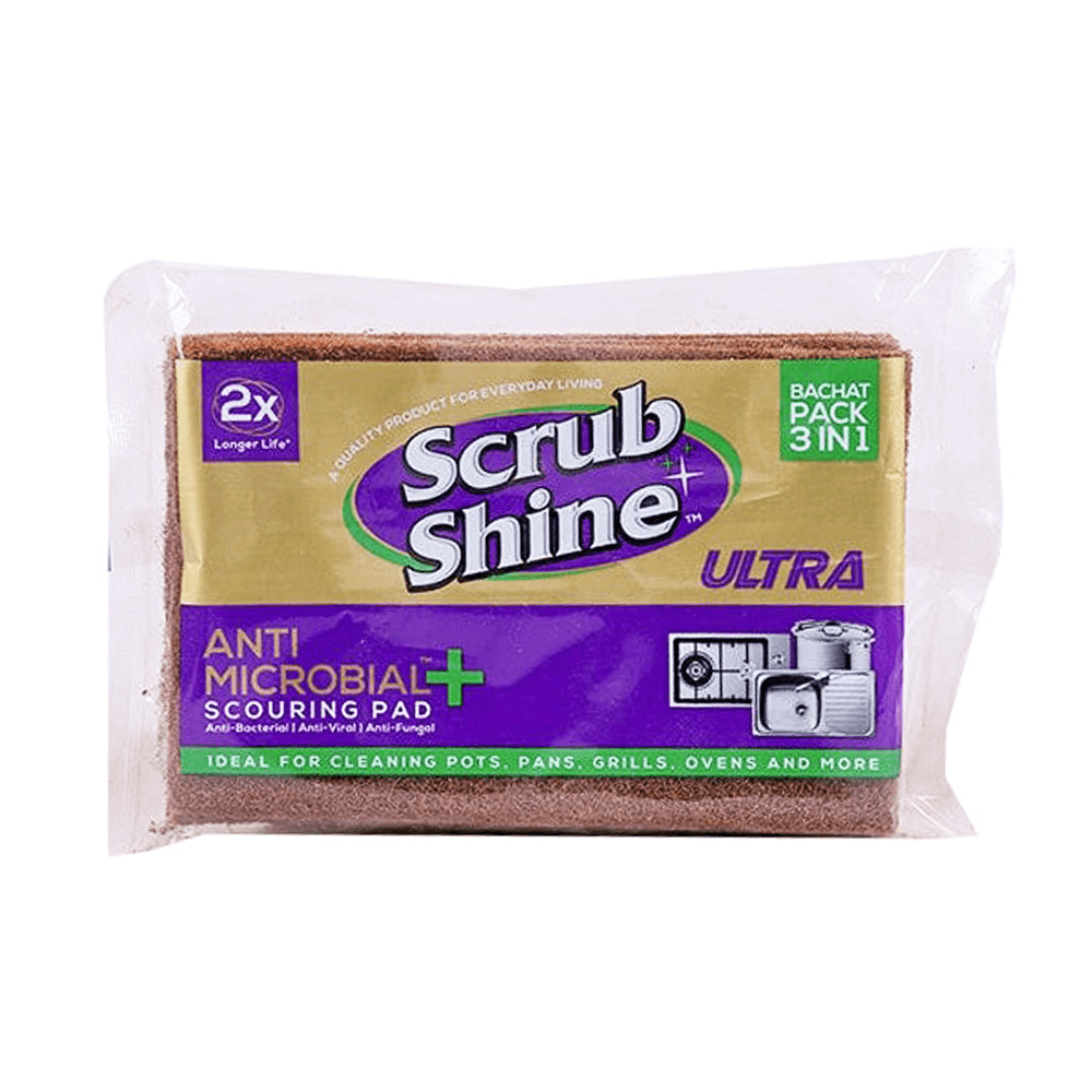 Scrub Shine Ultra Anti Microbial + Scouring Pad 3 In 1 Bachat Pack