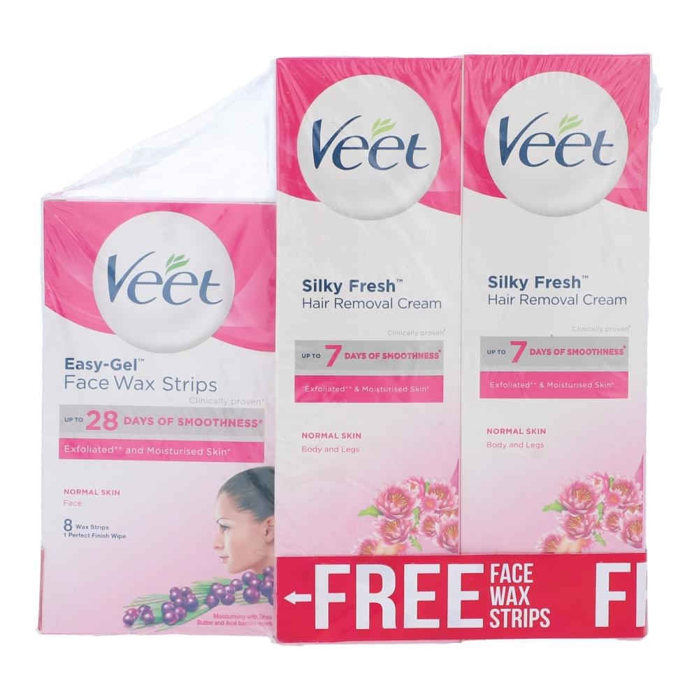 Veet Normal Skin With Free Face Wax Strip Pack OF 3