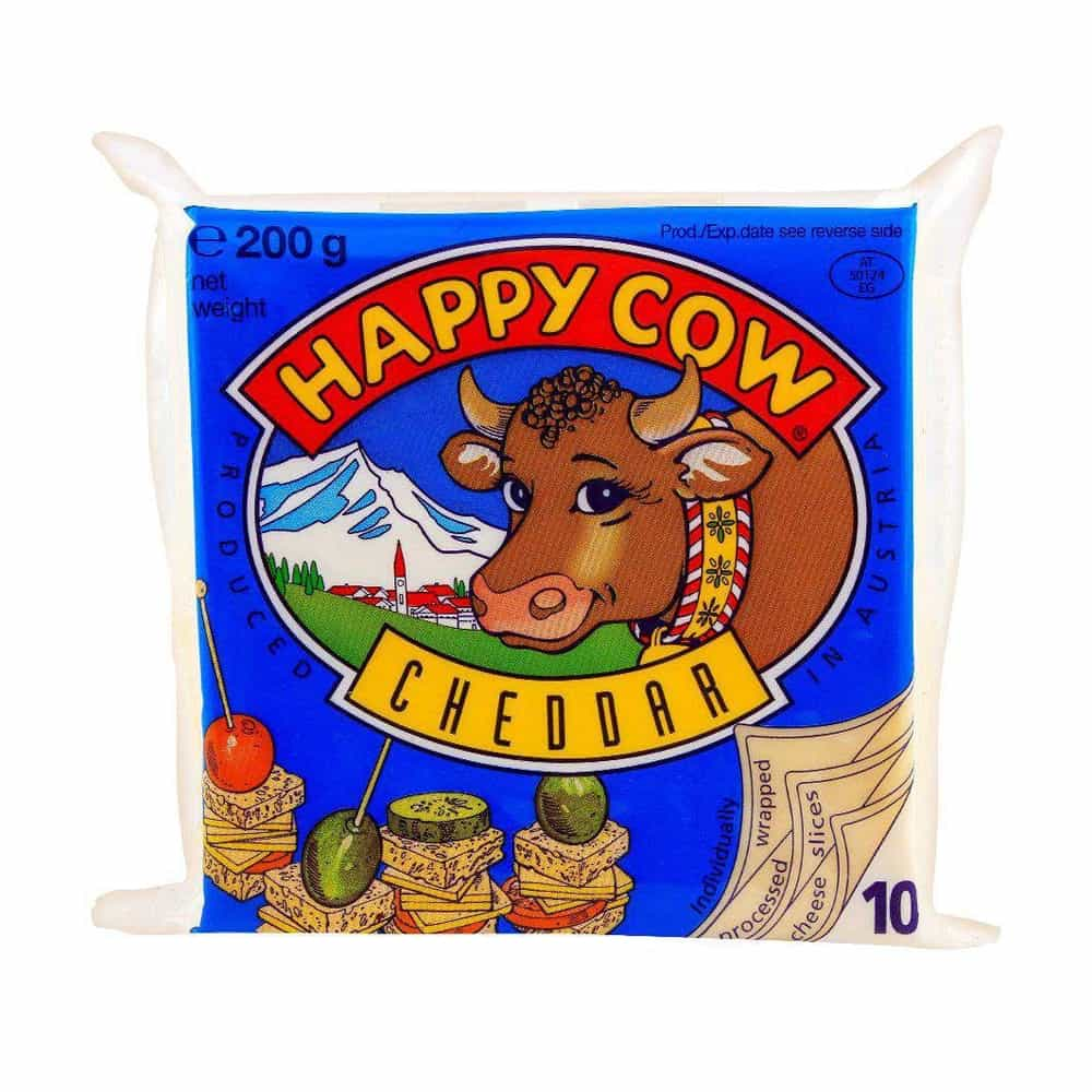 Happy Cow Cheddar Cheese Slice 200gm (10 Slices)