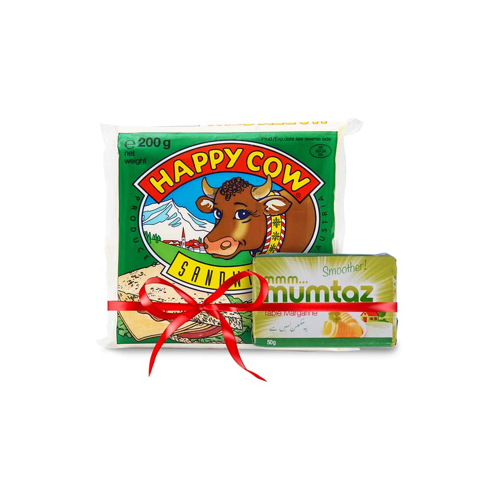 Happy Cow Sandwich Cheese 10 Slices 200gm with Free Mumtaz Margarine 50gm