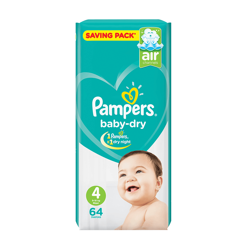Pampers Baby Dry Diapers Large Size 4 (64 Pcs)