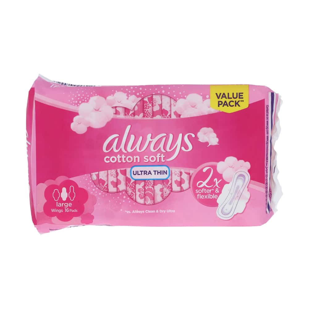 Always Cotton Soft Ultra Thin Large Value Pack 16pcs