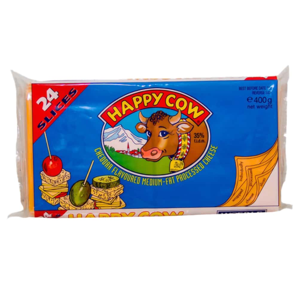Happy Cow Yellow Cheddar Cheese 24 Slices 400gm