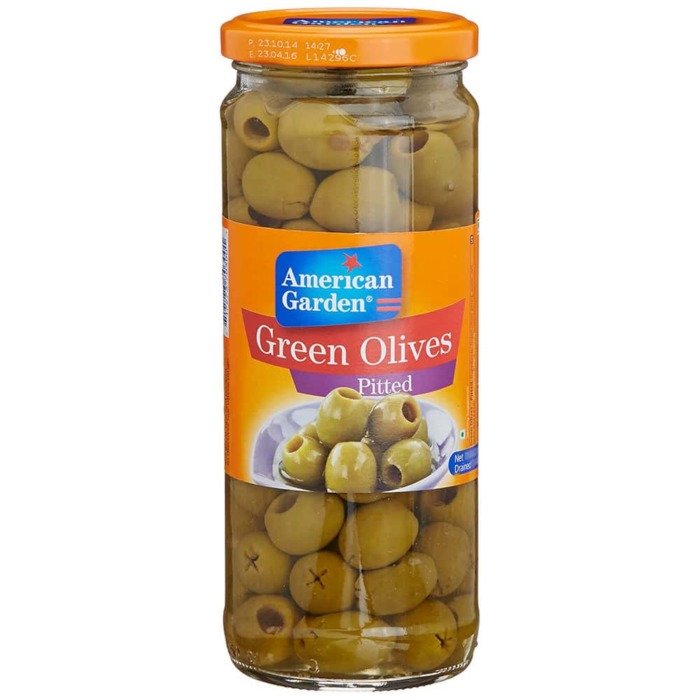 American Garden Green Olives Pitted 450gm