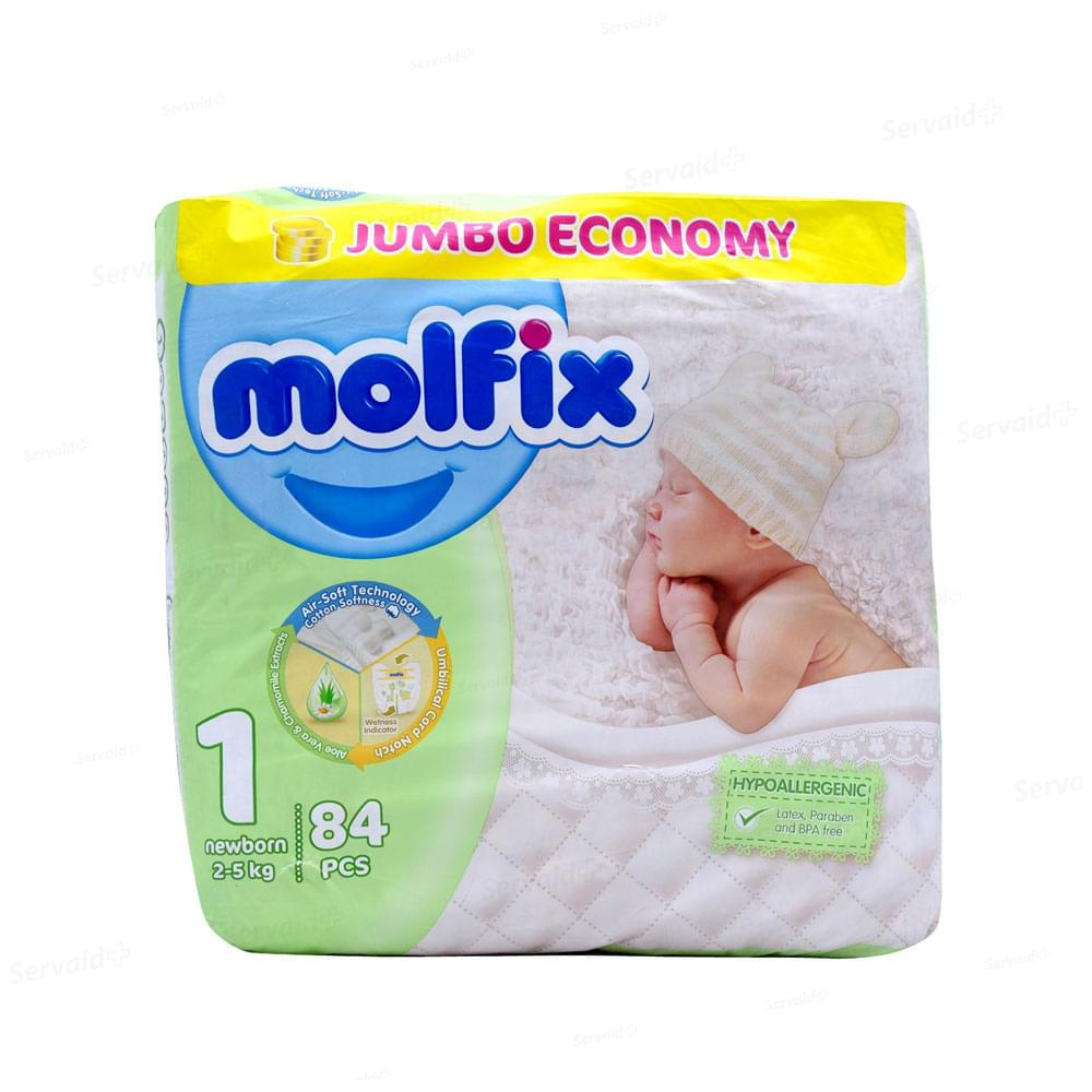 Molfix Diapers New Born Baby Size 1 84pcs (2kg to 5Kg)